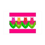 Tulips on Pink & White Stripes Wall Decal