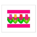Tulips on Pink & White Stripes Posters