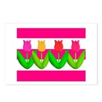 Tulips on Pink & White Stripes Postcards (Package