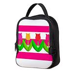 Tulips on Pink & White Stripes Neoprene Lunch Bag