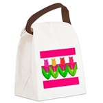 Tulips on Pink & White Stripes Canvas Lunch Bag