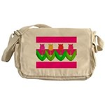 Tulips on Pink & White Stripes Messenger Bag