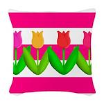 Tulips on Pink & White Stripes Woven Throw Pillow