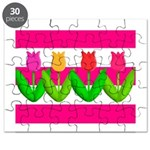 Tulips on Pink & White Stripes Puzzle