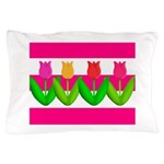 Tulips on Pink & White Stripes Pillow Case