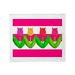 Tulips on Pink & White Stripes Throw Blanket