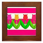 Tulips on Pink & White Stripes Framed Tile