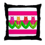 Tulips on Pink & White Stripes Throw Pillow