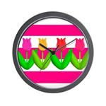 Tulips on Pink & White Stripes Wall Clock