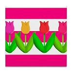 Tulips on Pink & White Stripes Tile Coaster