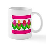 Tulips on Pink & White Stripes Mugs