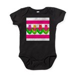 Tulips on Pink & White Stripes Baby Bodysuit