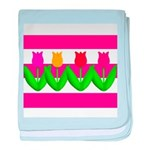 Tulips on Pink & White Stripes baby blanket