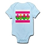 Tulips on Pink & White Stripes Body Suit