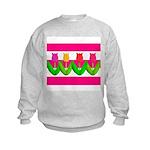 Tulips on Pink & White Stripes Sweatshirt