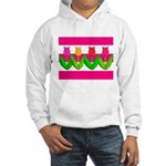 Tulips on Pink & White Stripes Hoodie