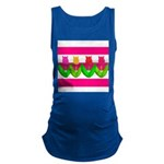 Tulips on Pink & White Stripes Maternity Tank Top