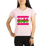 Tulips on Pink & White Stripes Performance Dry T-S