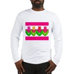 Tulips on Pink & White Stripes Long Sleeve T-Shirt