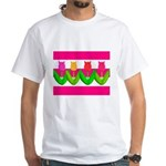 Tulips on Pink & White Stripes T-Shirt