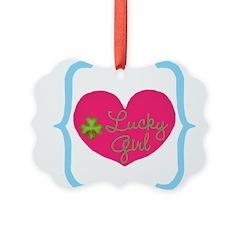 Lucky Girl Heart Shamrock Ornament