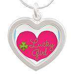 Lucky Girl Heart Shamrock Necklaces