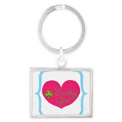 Lucky Girl Heart Shamrock Keychains