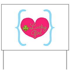 Lucky Girl Heart Shamrock Yard Sign