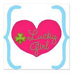 Lucky Girl Heart Shamrock Square Car Magnet 3