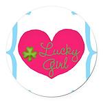 Lucky Girl Heart Shamrock Round Car Magnet