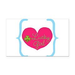 Lucky Girl Heart Shamrock Rectangle Car Magnet