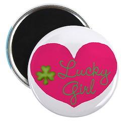 Lucky Girl Heart Shamrock Magnets