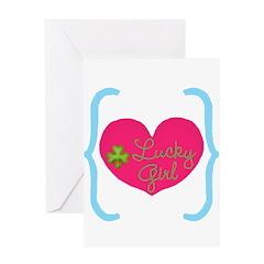 Lucky Girl Heart Shamrock Greeting Cards