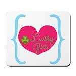 Lucky Girl Heart Shamrock Mousepad