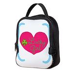 Lucky Girl Heart Shamrock Neoprene Lunch Bag
