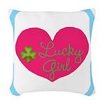 Lucky Girl Heart Shamrock Woven Throw Pillow
