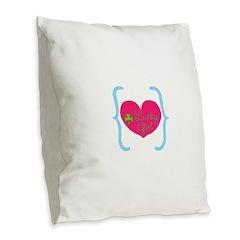 Lucky Girl Heart Shamrock Burlap Throw Pillow