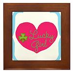 Lucky Girl Heart Shamrock Framed Tile