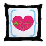 Lucky Girl Heart Shamrock Throw Pillow