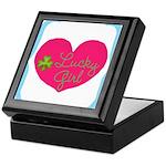 Lucky Girl Heart Shamrock Keepsake Box