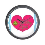 Lucky Girl Heart Shamrock Wall Clock