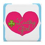 Lucky Girl Heart Shamrock Tile Coaster