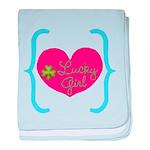 Lucky Girl Heart Shamrock baby blanket