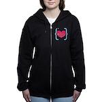 Lucky Girl Heart Shamrock Women's Zip Hoodie