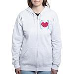 Lucky Girl Heart Shamrock Zip Hoodie