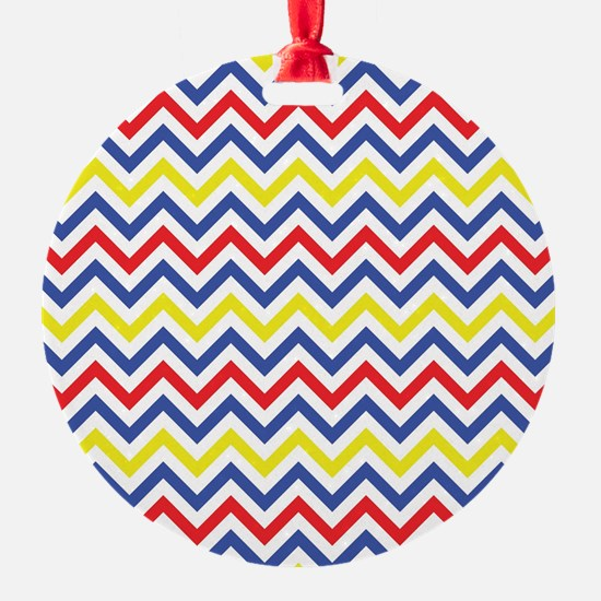 Red, Blue, and Yellow Chevron Pattern Ornament