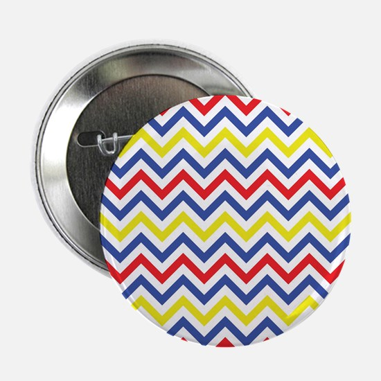 """Red, Blue, and Yellow Chevron Pattern 2.25"""" Button"""