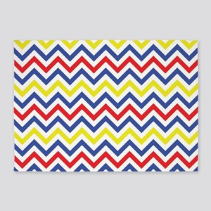 Red Blue And Yellow Chevron Pattern 5 X7 Area Ru