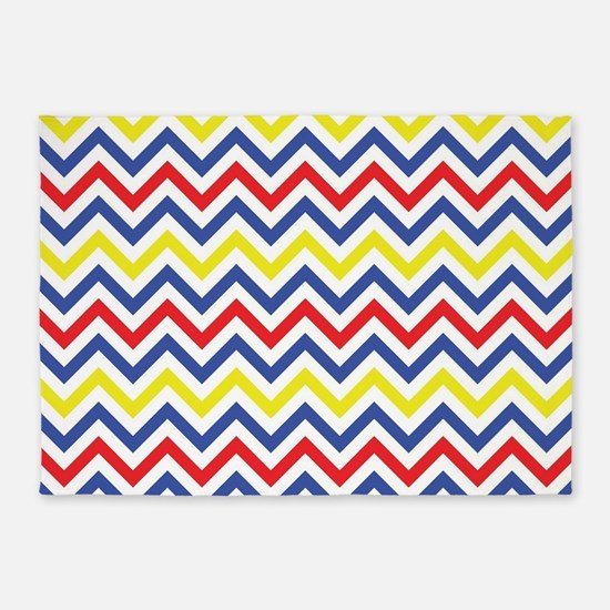 Red, Blue, and Yellow Chevron Pattern 5'x7'Area Ru
