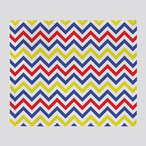 Red, Blue, and Yellow Chevron Pattern Throw Blanke